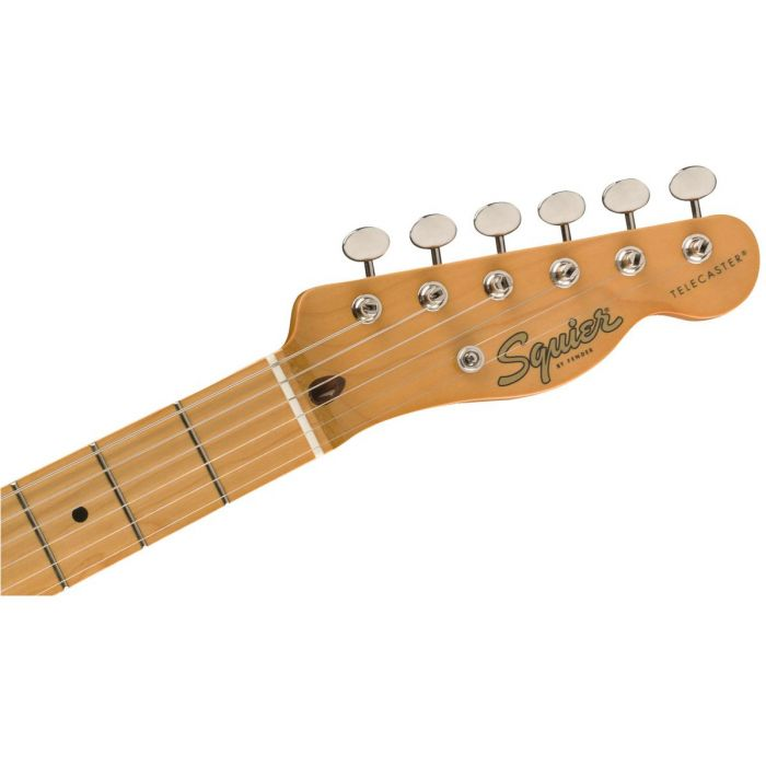 Front view of the headstock on a Squier Classic Vibe 50s Telecaster MN White Blonde