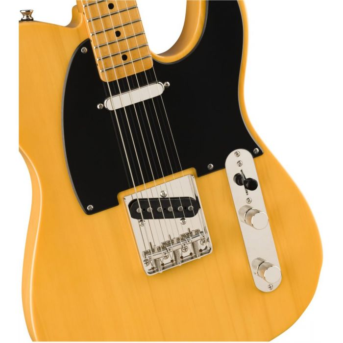 Front closeup view of a Squier Classic Vibe 50s Telecaster MN Butterscotch Blonde