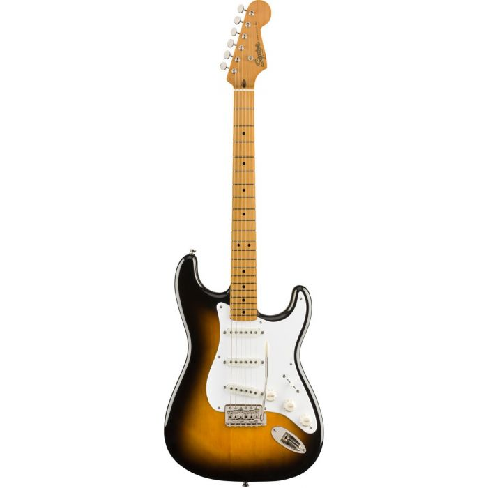 Full front view of a Squier Classic Vibe 50s Stratocaster MN 2 Tone Sunburst