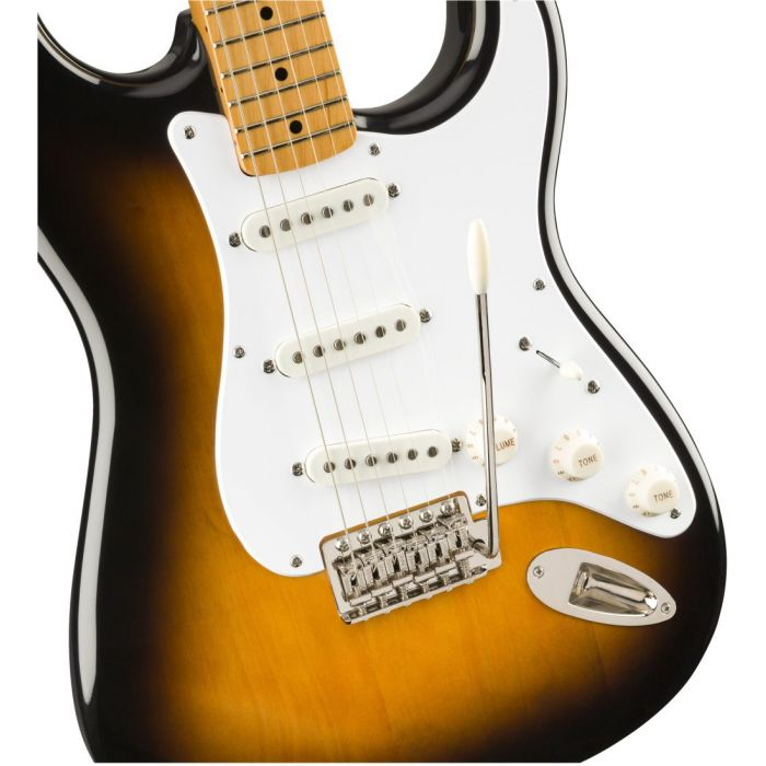 Closeup front view of a Squier Classic Vibe 50s Stratocaster MN 2 Tone Sunburst