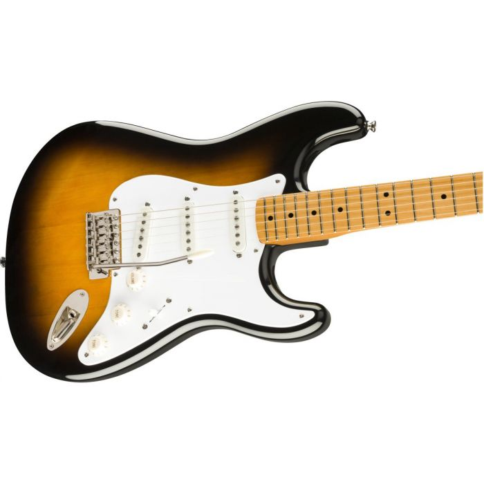 Front angled view of a Squier Classic Vibe 50s Stratocaster MN 2 Tone Sunburst