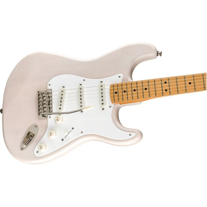 Front angled view of a Squier Classic Vibe 50s Stratocaster MN White Blonde