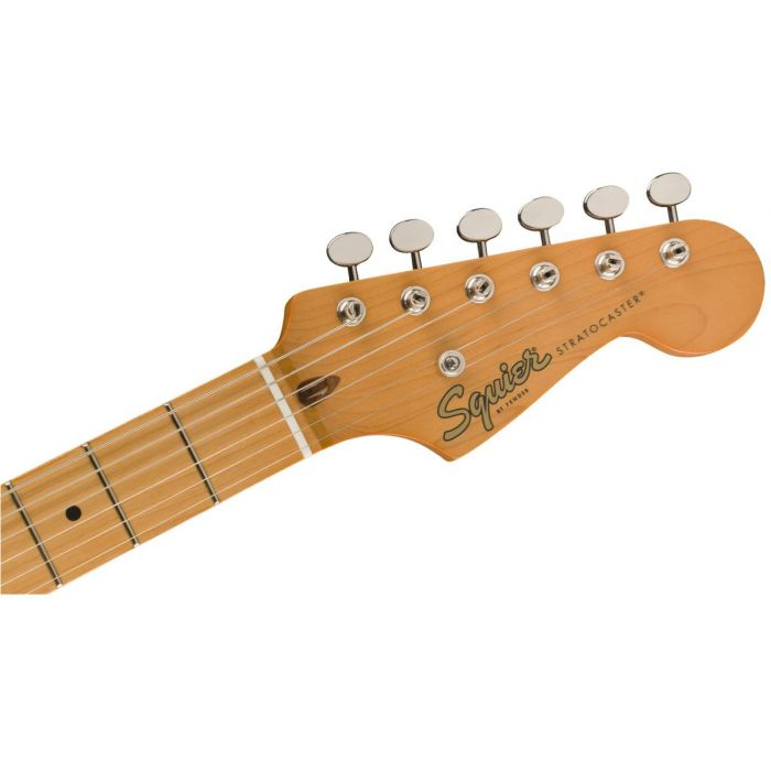 Front view of the headstock on a Squier Classic Vibe 50s Stratocaster MN White Blonde