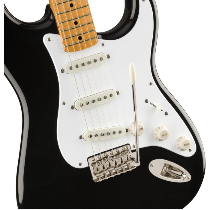 Closeup front view of a Squier Classic Vibe 50s Stratocaster MN Black