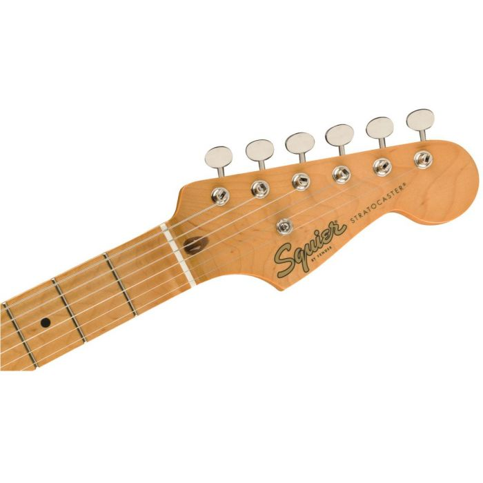 Front view of the headstock on a Squier Classic Vibe 50s Stratocaster MN Black