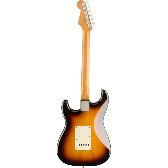 Full rear view of a Squier Classic Vibe 60s Stratocaster Laurel 3 Tone Sunburst