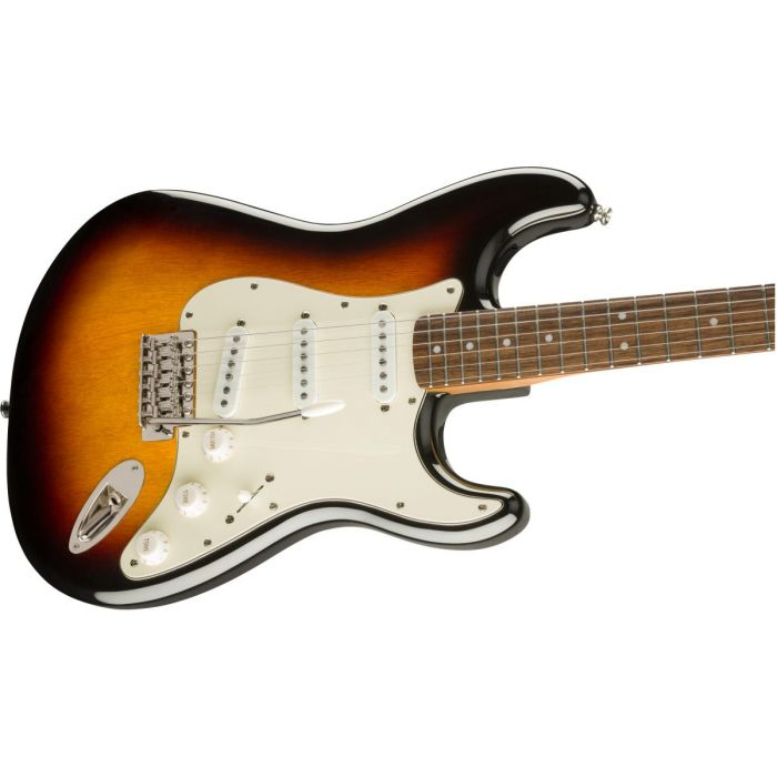 Front angled view of a Squier Classic Vibe 60s Stratocaster Laurel 3 Tone Sunburst