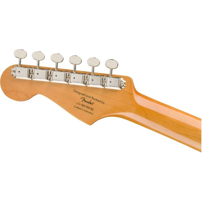 Rear view of the headstock on a Squier Classic Vibe 60s Stratocaster Laurel 3 Tone Sunburst