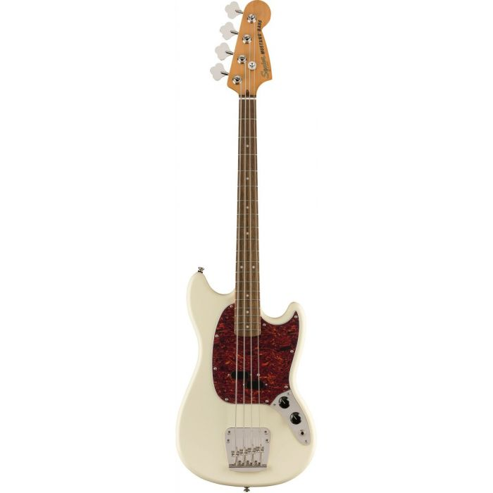 Full frontal view of a Squier Classic Vibe 60s Mustang Bass Olympic White