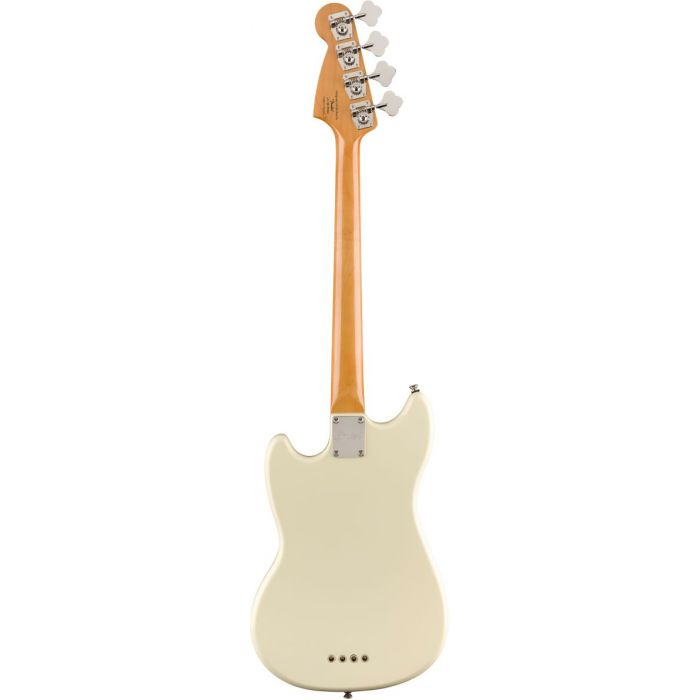 Full rear view of a Squier Classic Vibe 60s Mustang Bass Olympic White