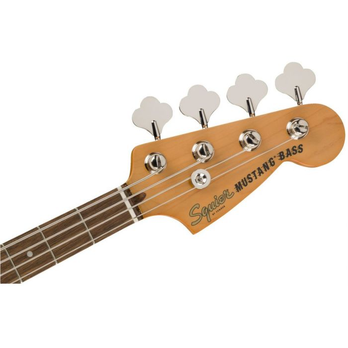 Front view of the headstock on a Squier Classic Vibe 60s Mustang Bass Olympic White
