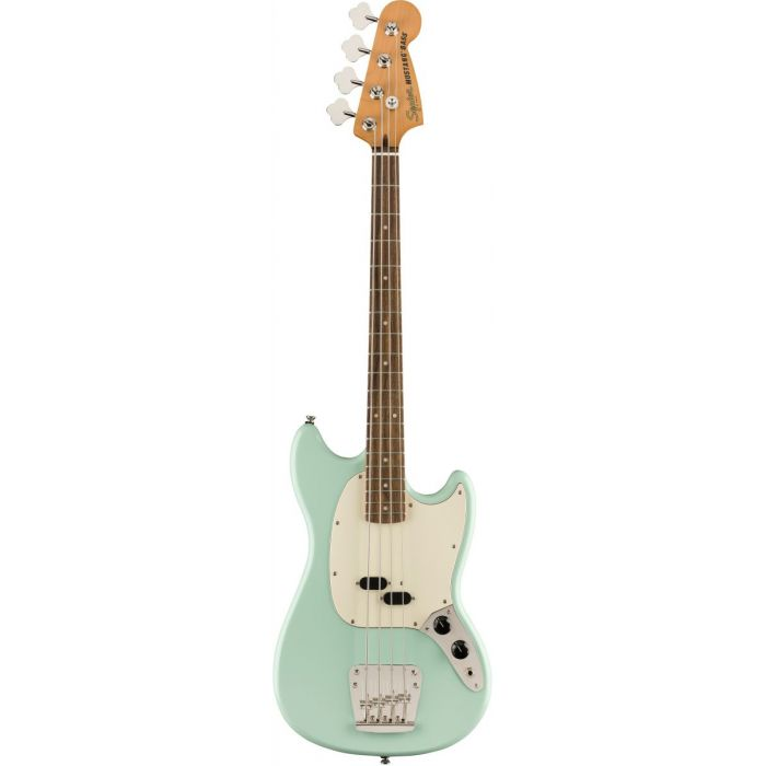 Full frontal view of a Squier Classic Vibe 60s Mustang Bass Surf Green