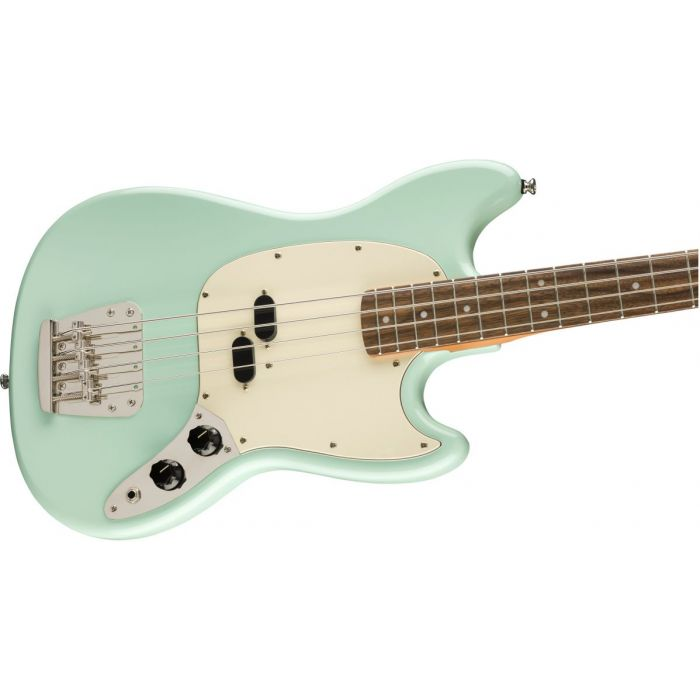 Front angled view of a Squier Classic Vibe 60s Mustang Bass Surf Green
