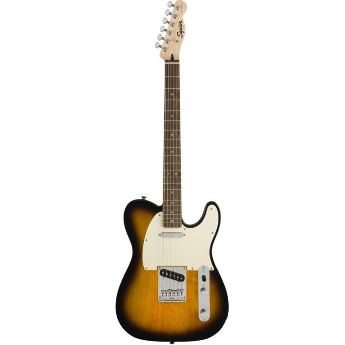 Full frontal view of a Squier Bullet Telecaster IL Brown Sunburst Guitar