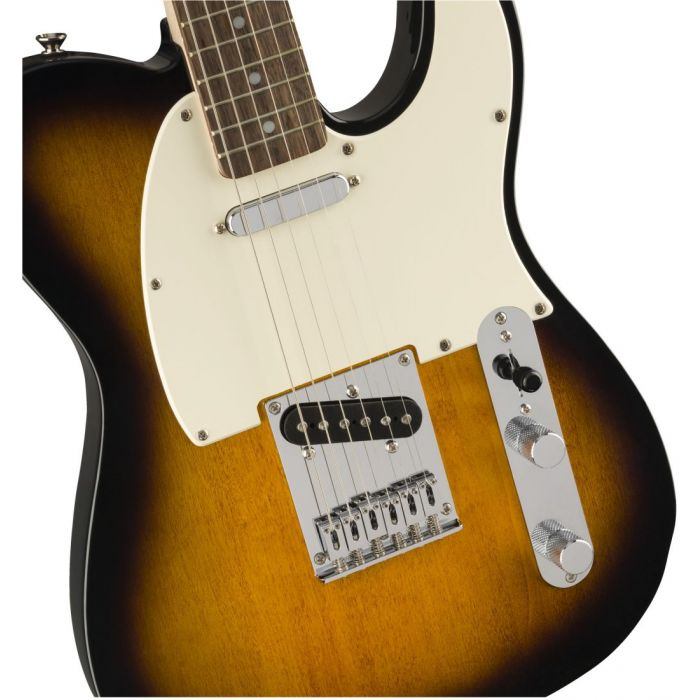 Closeup front view of a Squier Bullet Telecaster IL Brown Sunburst Guitar