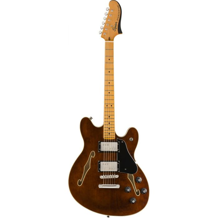 Full frontal view of a Squier Classic Vibe Starcaster MN Walnut