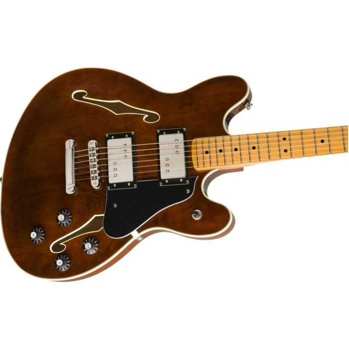 Front angled view of a Squier Classic Vibe Starcaster MN Walnut