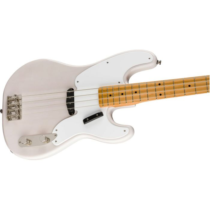 Front angled view of a Squier Classic Vibe 50s Precision Bass MN White Blonde