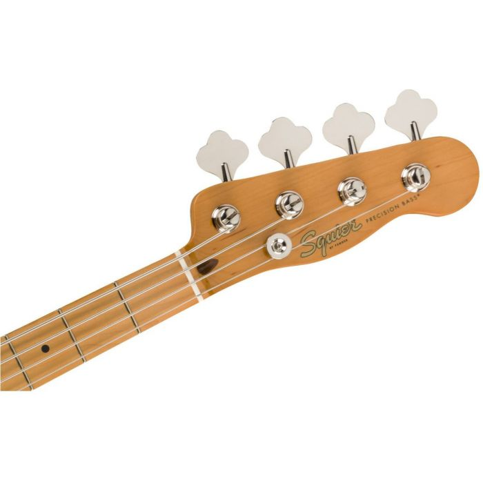 Front view of the headstock on a Squier Classic Vibe 50s Precision Bass MN White Blonde