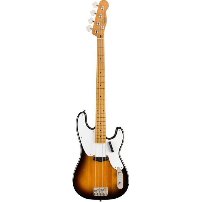 Full frontal view of a Squier Classic Vibe 50s Precision Bass MN 2 Tone Sunburst