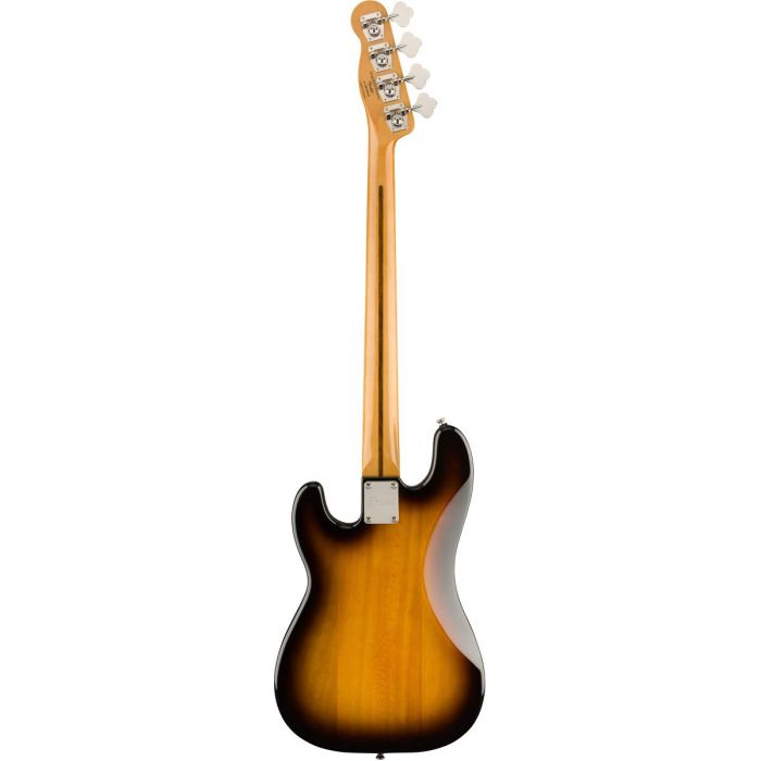 Full rear view of a Squier Classic Vibe 50s Precision Bass MN 2 Tone Sunburst