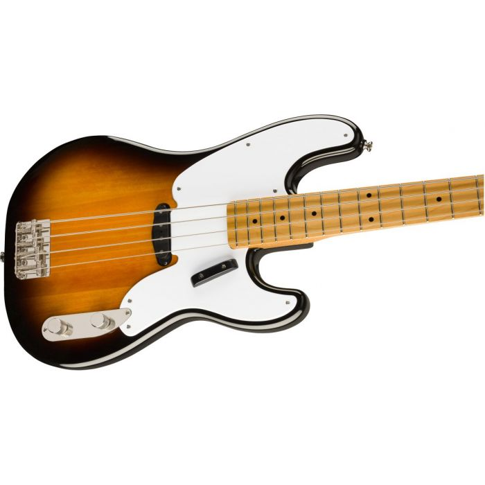 Front angled view of a Squier Classic Vibe 50s Precision Bass MN 2 Tone Sunburst