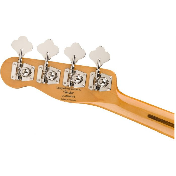 Rear view of the headstock on a Squier Classic Vibe 50s Precision Bass MN 2 Tone Sunburst