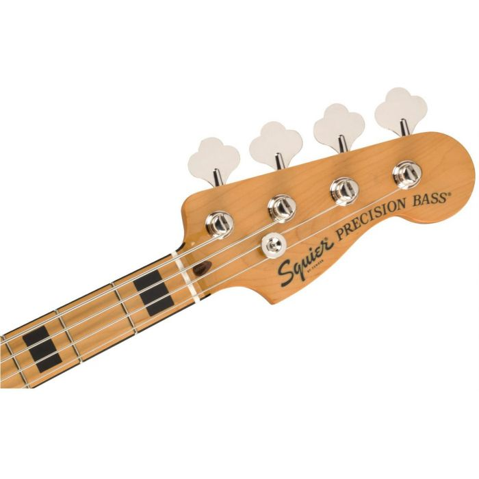 Front view of the headstock on a Squier Classic Vibs 70s Precision Bass MN Black