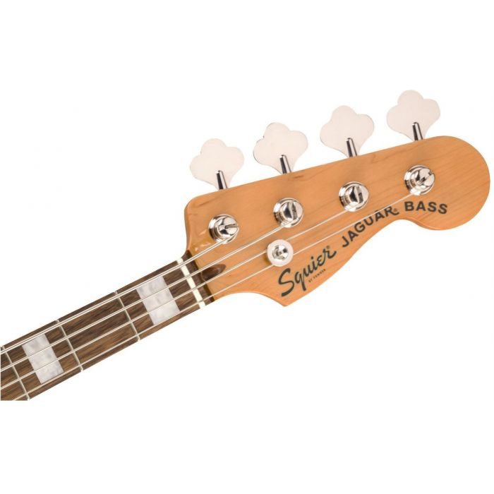 Front view of the headstock on a Squier Classic Vibe Jaguar Bass Laurel Black