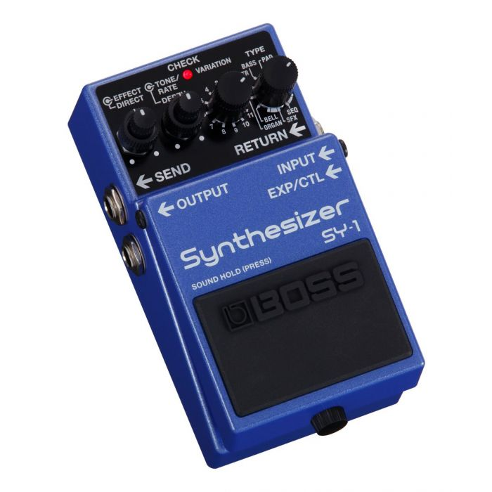 Front angled view of a Boss SY-1 Synthesizer Effects Pedal