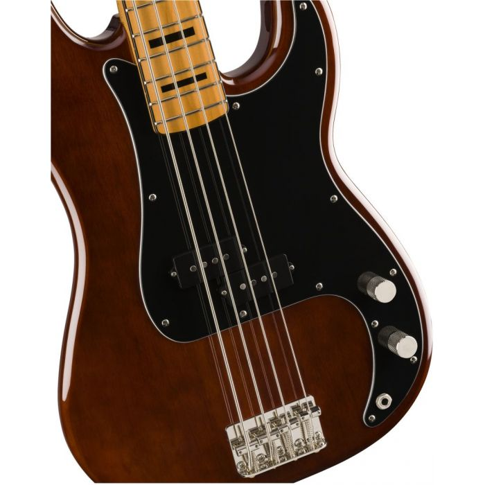 Front closeup view of a Squier Classic Vibe 70s Precision Bass MN Walnut