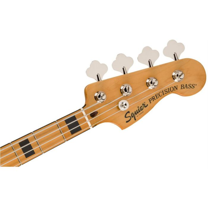 Front view of the headstock on a Squier Classic Vibe 70s Precision Bass MN Walnut