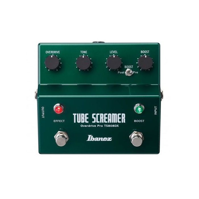 Full front view of a Ibanez TS808DX Dual Tubescreamer with Boost
