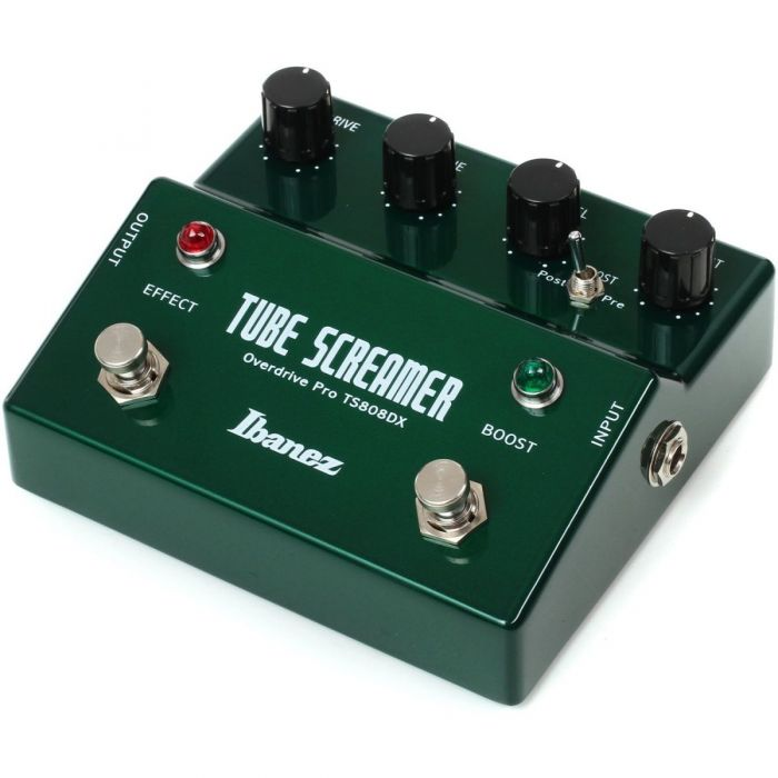 Front right angled view of a Ibanez TS808DX Dual Tubescreamer with Boost