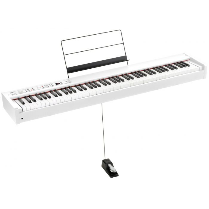 Korg D1-WH with Included Music Stand and Damper Pedal