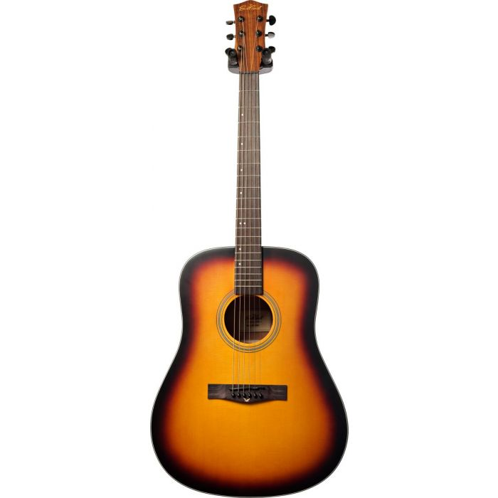 Full frontal view of an Eastcoast D1 Dreadnought Acoustic Guitar Satin Dark Sunburst