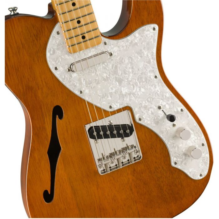 Closeup front view of a Squier Classic Vibe 60s Telecaster Thinline MN Natural