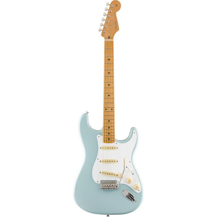 Full frontal view of a Fender Vintera 50s Stratocaster MN Sonic Blue