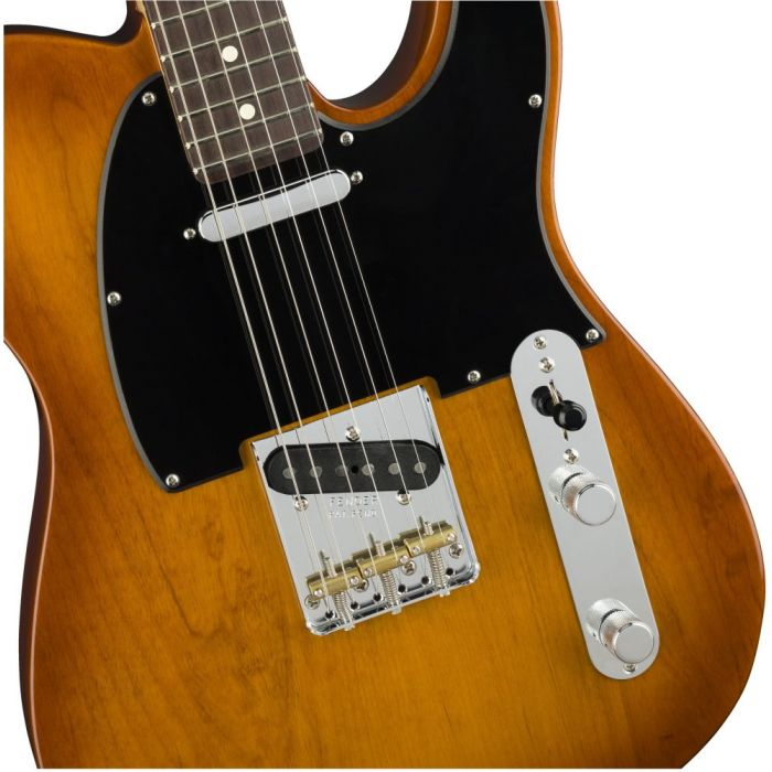 Closeup front view of a Fender American Performer Telecaster RW Honey Burst