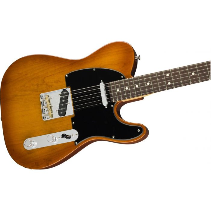 Front angled view of a Fender American Performer Telecaster RW Honey Burst