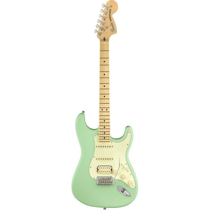 Full frontal view of a Fender American Performer Stratocaster HSS MN Satin Surf Green