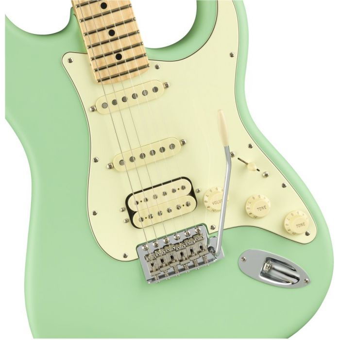 Front closeup view of a Fender American Performer Stratocaster HSS MN Satin Surf Green