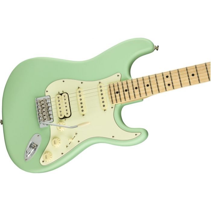 Front angled view of a Fender American Performer Stratocaster HSS MN Satin Surf Green