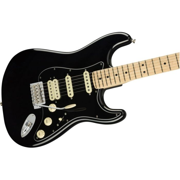 Front angled view of a Fender American Performer Stratocaster HSS MN Black