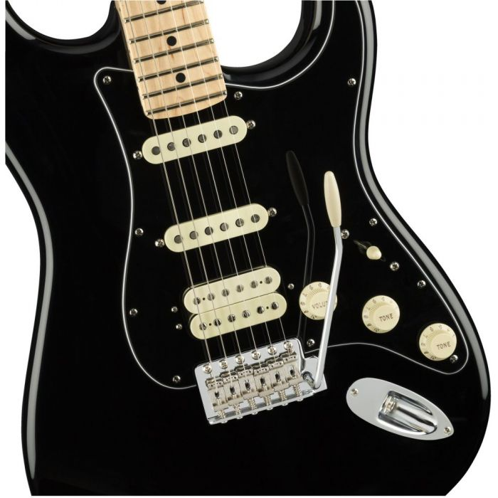 Front closeup view of a Fender American Performer Stratocaster HSS MN Black