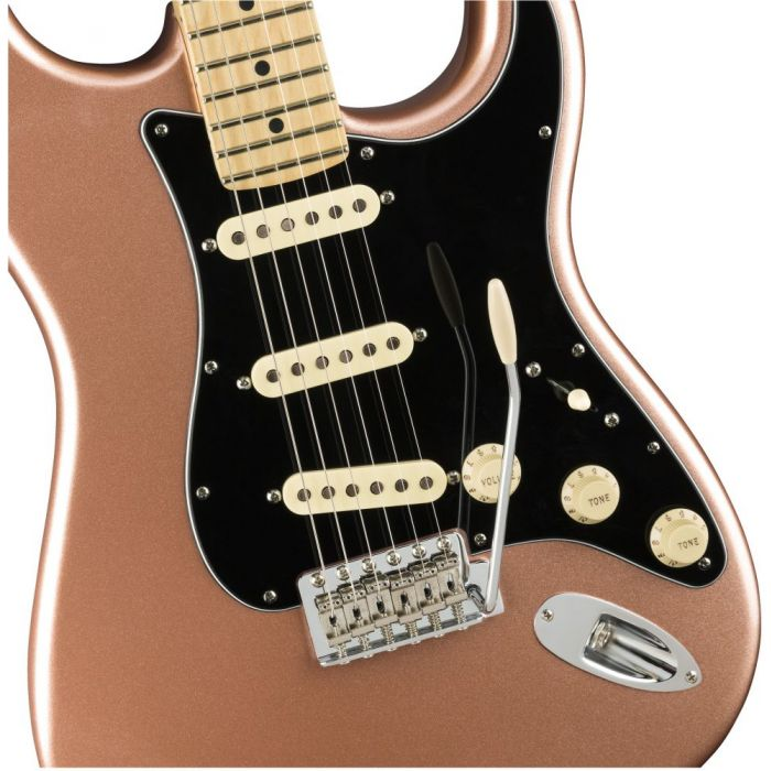 Closeup front view of a Fender American Performer Stratocaster MN Penny