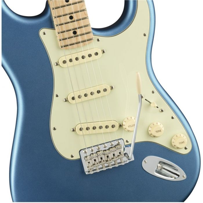 Front closeup view of a Fender American Performer Stratocaster MN Satin Lake Placid Blue