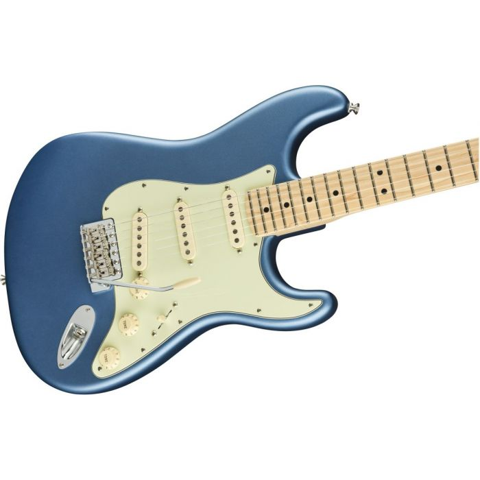 Front angled view of a Fender American Performer Stratocaster MN Satin Lake Placid Blue