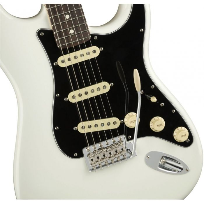 Closeup front view of a Fender American Performer Stratocaster RW Arctic White