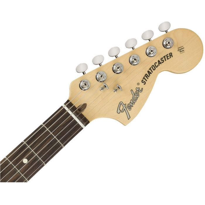 Front view of the headstock on a Fender American Performer Stratocaster RW Arctic White